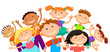 group of children kids are jumping joyful white background bunner cartoon funny vector character. illustration