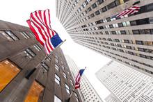 Midtown Manhattan USA Flags On Skyscraper