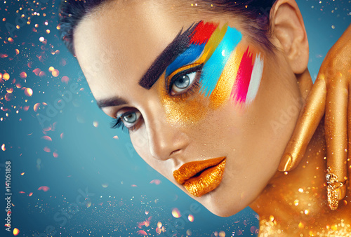 Foto auf Gartenposter Beauty Beauty fashion art portrait of beautiful woman with colorful abstract makeup