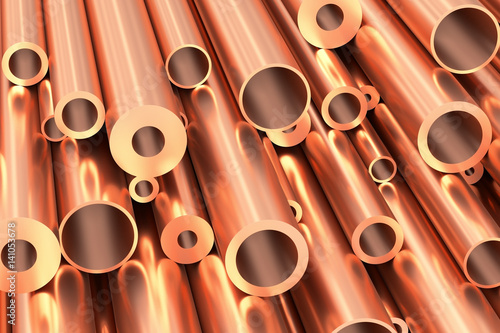 Poster Metal Many different copper pipes closeup, industrial background