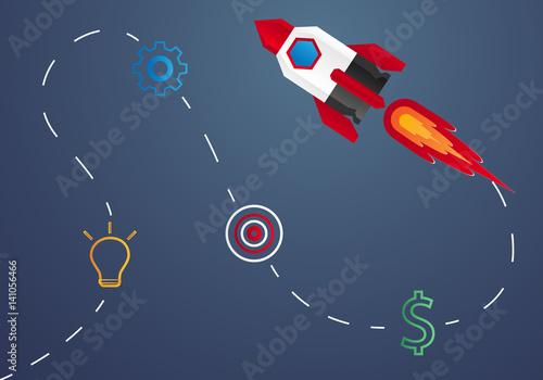 Fotografie, Obraz  Start up concept , rocket launch , step by step