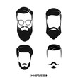 Set of hipster man haircuts, beards, mustaches. Simple design for logo, silhouette. Vector illustration.