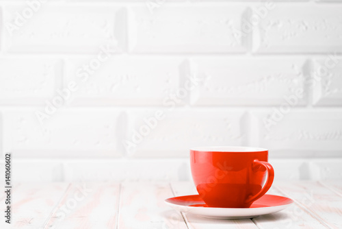 Red cup on the kitchen table