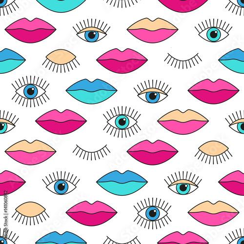 Obrazy wieloczęściowe tło w stylu lat 80 z oczami i ustami