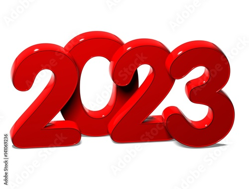 Fotografia  3D Red New Year 2023 on white background