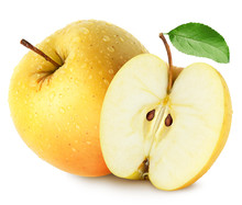 Isolated Wet Apples. Whole Yellow (golden) Apple Fruit With Half Isolated On White, With Clipping Path