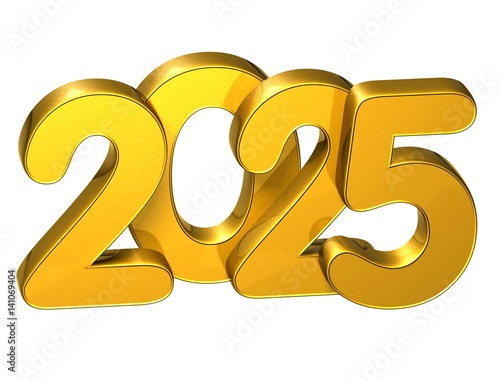 Fotografia  3D Gold Number New Year 2025 on white background