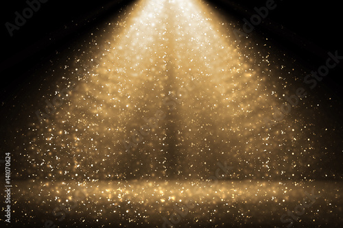 Foto op Canvas Licht, schaduw Stage light and golden glitter lights on floor. Abstract gold background for display your product. Spotlight realistic ray