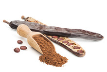 Carob Powder And Pods Isolated...