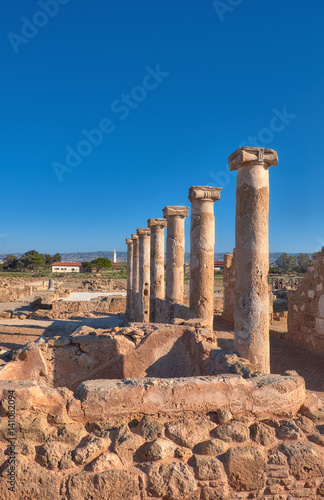 Fotobehang Rudnes Ancient temple columns in Kato Paphos Archaeological Park, Cyprus