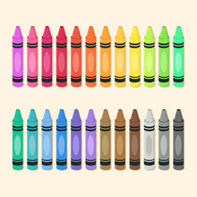 Crayons Set Colorful Back To School Supplies Vector Illustration.