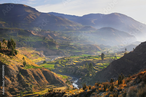 Photo View of Colca Canyon with morning fog in Peru