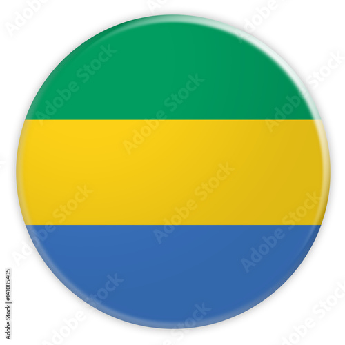 Fotografie, Obraz  Gabon Gabonese Republic Flag Button, News Concept Badge, 3d illustration on whit