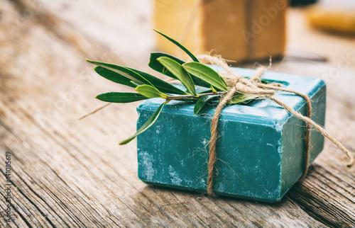 Fotografie, Obraz  Handmade soap bar on wooden background
