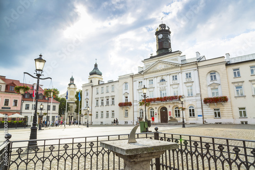 Valokuva  The old market and town hall in city of Plock, Poland