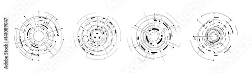Fotomural  set of 4 futuristic circle tech digital concept icon isolated