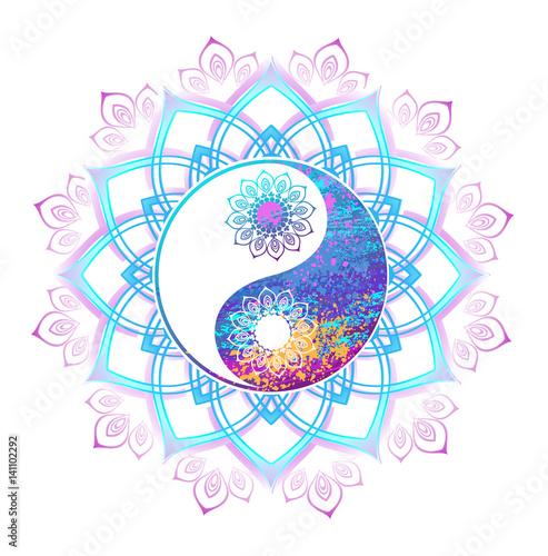 Fotografia, Obraz Pastel symbol of yin yang