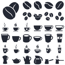 Coffee Icons Set Isolated On W...