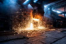 Pouring Of Liquid Metal In Open-hearth Furnace