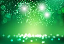 Firework On City Landscape Background For St Patrick Day Celebration