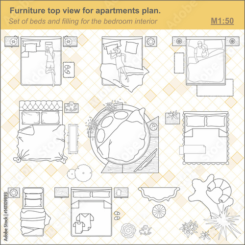 A Set Of Furniture For The Bedroom Top View The Layout Of The Apartment Technical Drawing Interior Icon For Floor Plan Of The Bedroom Design Vector Illustration Vector De Stock Adobe