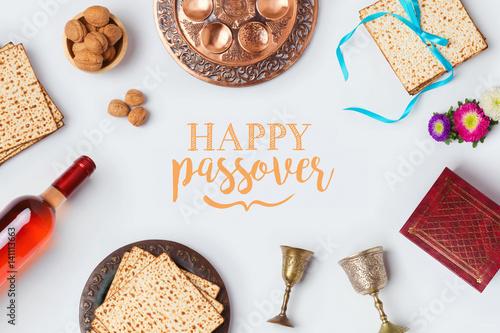 Jewish holiday passover pesah greeting card with wine matza and jewish holiday passover pesah greeting card with wine matza and seder plate view from m4hsunfo