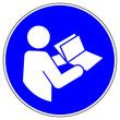 Leinwanddruck Bild - shas508 SignHealthAndSafety shas - German / Gebotszeichen: Anleitung beachten - Aufgeschlagenes Buch lesen - english / mandatory action sign: refer to instruction manual / booklet - xxl g5120