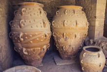 Pithoi. Luggage Storage In Ancient Greece.    Pithos Is Big Jug To Store Food, Oil, Wine, Grain