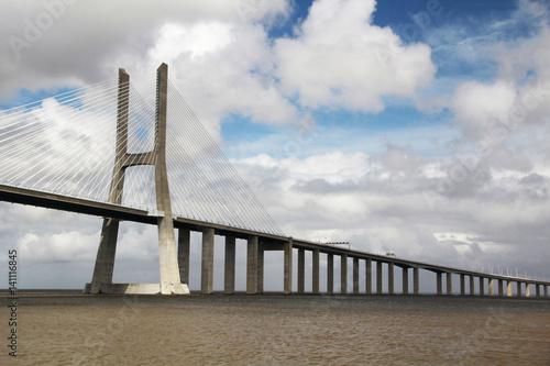 Photo  The Vasco da Gama Bridge, Lisbon, view from the Nations Park