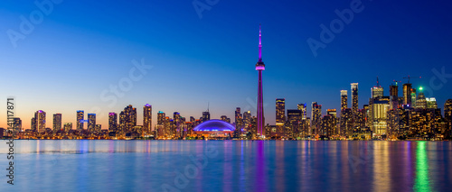 Toronto city skyline at night, Ontario, Toronto Canvas Print