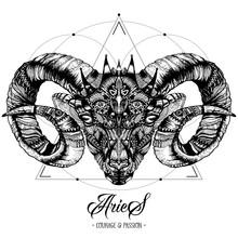 Zodiacal Aries Ink Zenart