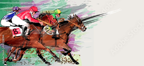 Fotografie, Obraz Horse racing over grunge background