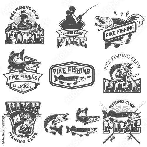 Fotografie, Obraz  Pike fishing club emblems