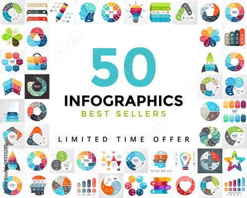 Photo  Vector circle infographics set