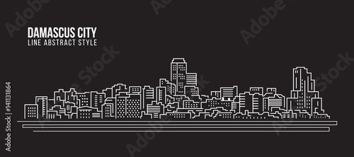 Tela Cityscape Building Line art Vector Illustration design - Damascus city