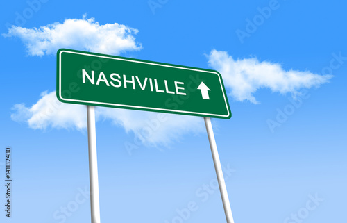 Road sign - Nashville (3D illustration) - Buy this stock