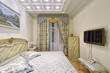Russia, Moscow - modern designer renovation in a luxury building. Stylish bedroom interior with double bed