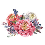 Watercolor Pink Peonies and Lilac Bouquet - 141134845