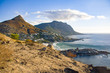 Late afternoon view of Llandudno ()Cape Town) on a calm autumn afternoon, showing the residences, the mountains, and the Atlantic Ocean.