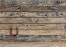 Old Brown Wooden Rustic Background, Horseshoe