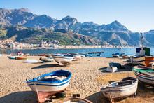 Boats On Urban Beach In Giardi...