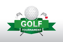 Vector Of Golf Competition Tournament Label, Logo And Badge Design.