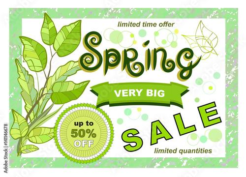 Design Banner With Spring Sale Logo Discount Card For Spring Season