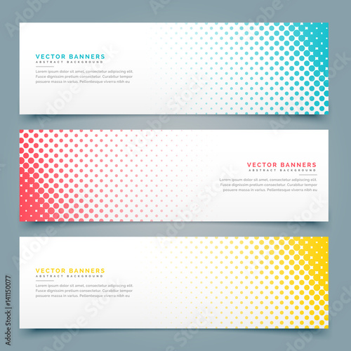 Fototapeta halftone banners and headers set design obraz