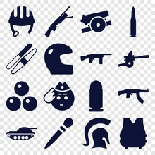 Set Of 16 Army Filled Icons