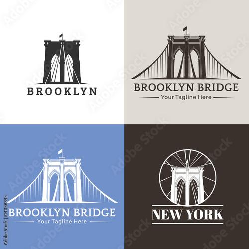 Canvas Print New York symbol - Brooklyn Bridge - vector illustration