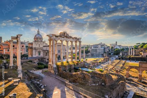 Zdjęcie XXL Forum Romanum, gdy wschód słońca, Rzym, Włochy