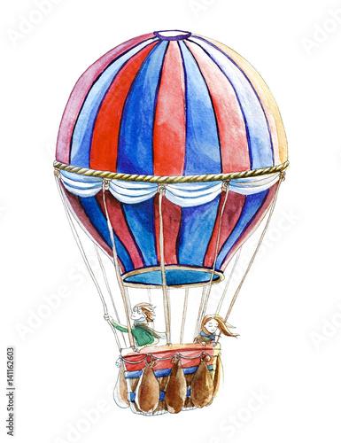 niebiesko-czerwony-balon-i-podrozujaca-nim-para-na-bialym-tle