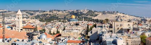 Zdjęcie XXL Panoramiczny widok na Stare Miasto w Jerozolimie, Wzgórze Świątynne, Kopuła na Skale i Góra Oliwna w Jerozolimie, Izrael.
