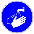 canvas print picture - shas509 SignHealthAndSafety shas - German / Gebotszeichen: Hände waschen - Infektionsschutz - Hygiene - Händewaschen - english / mandatory action sign: now wash your hands please - xxl g5121